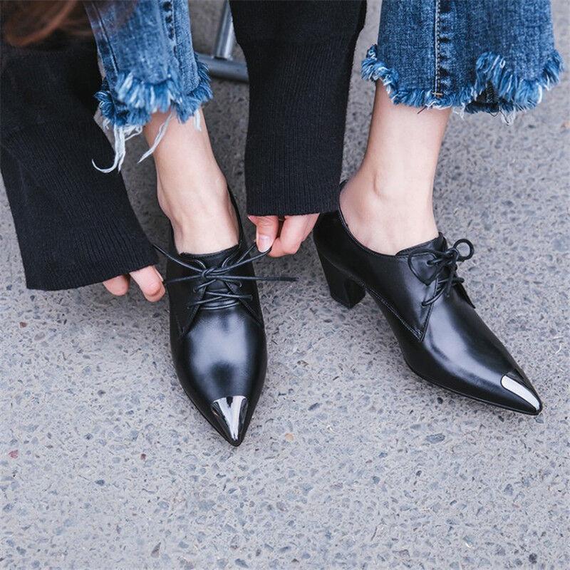 Mujer Zapatos De Tacón Tacón Tacón Grueso Bloque Medio Puntera En Punta Oxford con Cordones Bajo Top Zapatos Trabajo OL  precio razonable