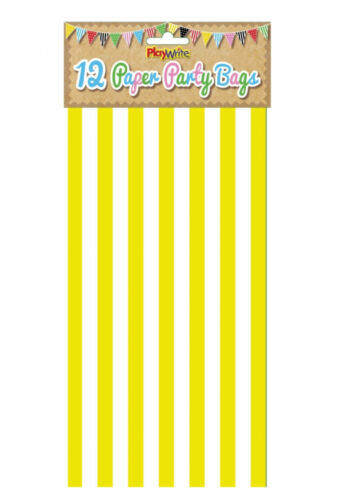 12 Yellow Stripe Paper Bags - Party Treat Candy Sweet Loot Lunch Gift