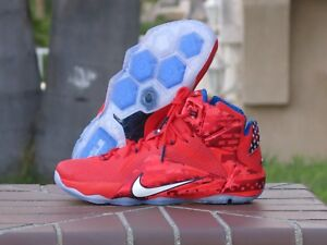 87454d5e4498 Nike LeBron XII 12 USA 4th of July Men s Basketball Sneakers 684593 ...