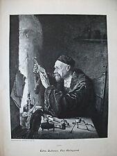 """Wissenschaftler, Chemie. Edm. Hellmer """"Der Alchymist"""" Grosser Holzstich um 1895"""