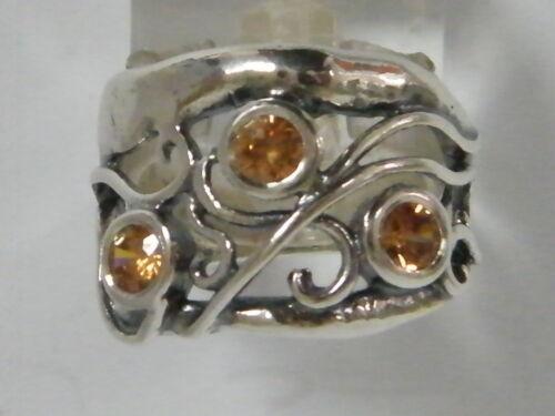 Nouveau shablool Band Ring Champagne Orange Pierre Argent Sterling 925