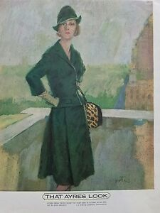 1961 that AYRES look women's vintage fashion green suit hat leopard purse ad