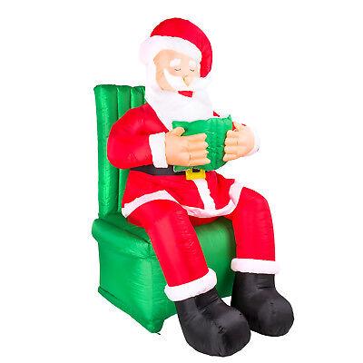 Weihnachtsmann im Sessel in Lebensgröße LED beleuchtet selbstaufblasend Airblown