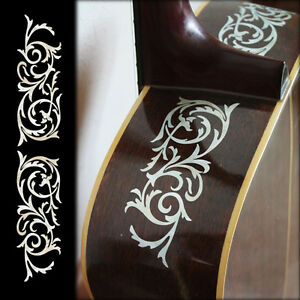 l r ornamental swirl inlay sticker decals for acoustic guitar ebay. Black Bedroom Furniture Sets. Home Design Ideas