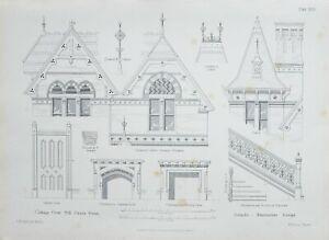 1868-Architektonisch-Aufdruck-Huette-Orne-Muehle-Gruen-Essec-Treppe-Elevation