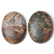 1 x Mixed Picasso Jasper Flat Back 30 x 40mm Oval 7.5mm Thick Cabochon CA16659-8