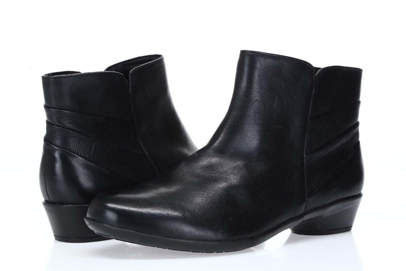 Mujeres Rockport De botas Cortas De Rockport Cuero Negro Sz 9.5W 934d87