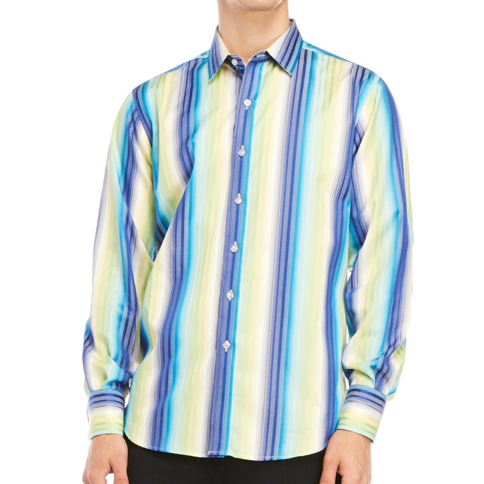Robert Graham Men's Long Sleeve Chenworth Striped Button Front Shirt bluee L 2XL