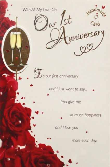 Red roses champagne our first anniversary cards best wishes with all my love on our 1st anniversary greetings card roses champagne m4hsunfo
