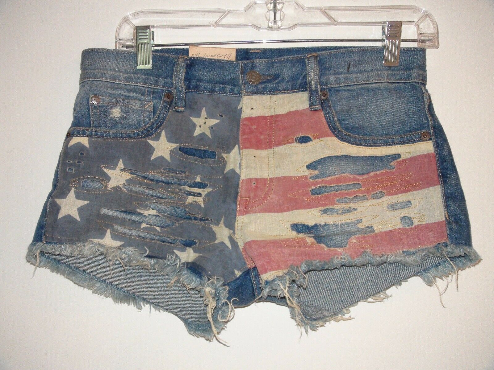 Ralph Lauren Denim & Supply USA Flag Distressed Boyfriend Cut Off Shorts 26 NEW