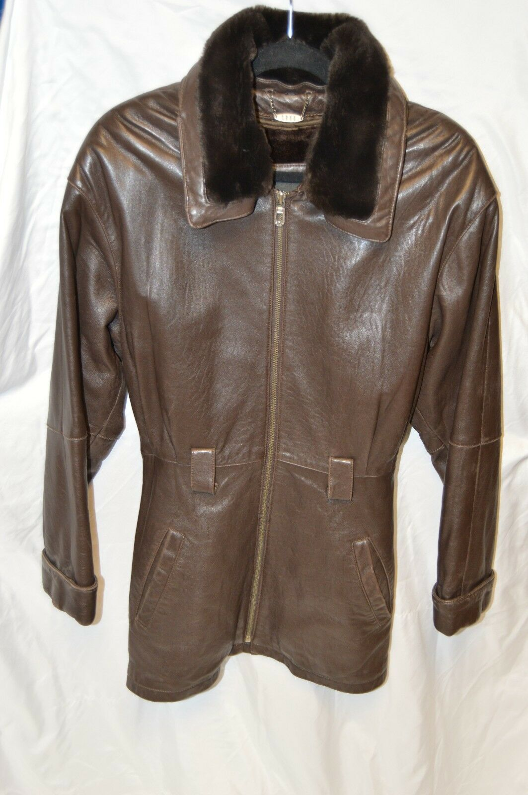 Brown Trek Coat Removable Lining and Collar Super Rich Leather Small