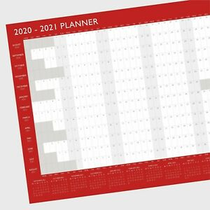 A2 2019-2020 Large Academic Mid Year Student Wall Planner Calendar - Red / Grey