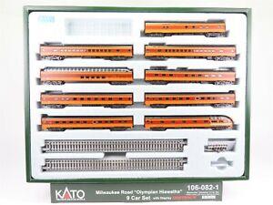 N-Scale-Kato-Kobo-106-082-1-MILW-Milwaukee-Olympian-Hiawatha-9-Car-Passenger-Set