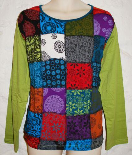 New Fair Trade Top 22 24 Hippy Boho Flower Hippie Cotton Patchwork Nepal