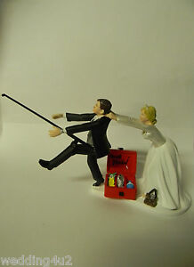 Wedding Party Reception ~Gone Fishing~ Cake Topper Pole Fisherman Running Groom