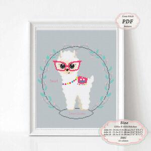 Smart-Baby-Llama-Alpaca-in-pink-glasses-Embroidery-Cross-stitch-PDF-Pattern-138