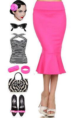 Fuchsia HIGHWAIST 50s PINUP Style Essential MERMAID Flared Hemline PENCIL Skirt