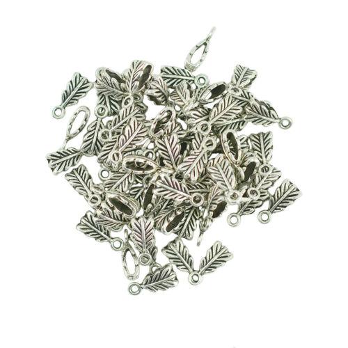 100Pcs Tibetan Silver Feather Bail Jewelry Making Charm Pendant 14 x 6 x 5mm