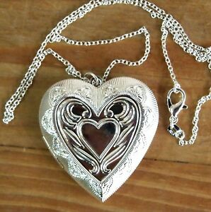 A beautiful 925 silver large heart shapepattern locket pendant image is loading a beautiful 925 silver large heart shape amp mozeypictures Gallery