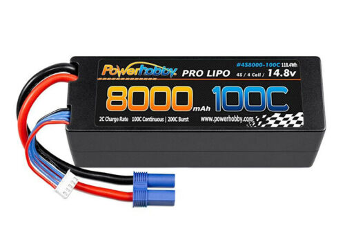 Power Hobby 4s 14.8V 8000MAH 100C Lipo Battery w EC5 Plug Hard Cas 4S8000100CEC5