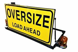 OVERSIZE-LOAD-AHEAD-Sign-Vehicle-Escort-Pilot-Universal-Mount-WITH-LED-BEACONS