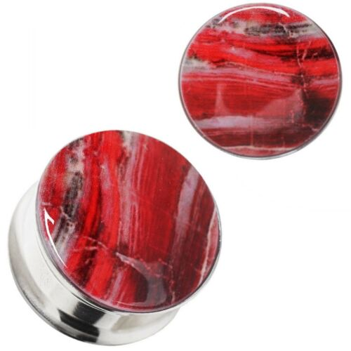 """PAIR 2g-3//4/"""" BLOODY SUNSET RESIN EAR PLUGS DOUBLE FLARED 316L STEEL GAUGES"""