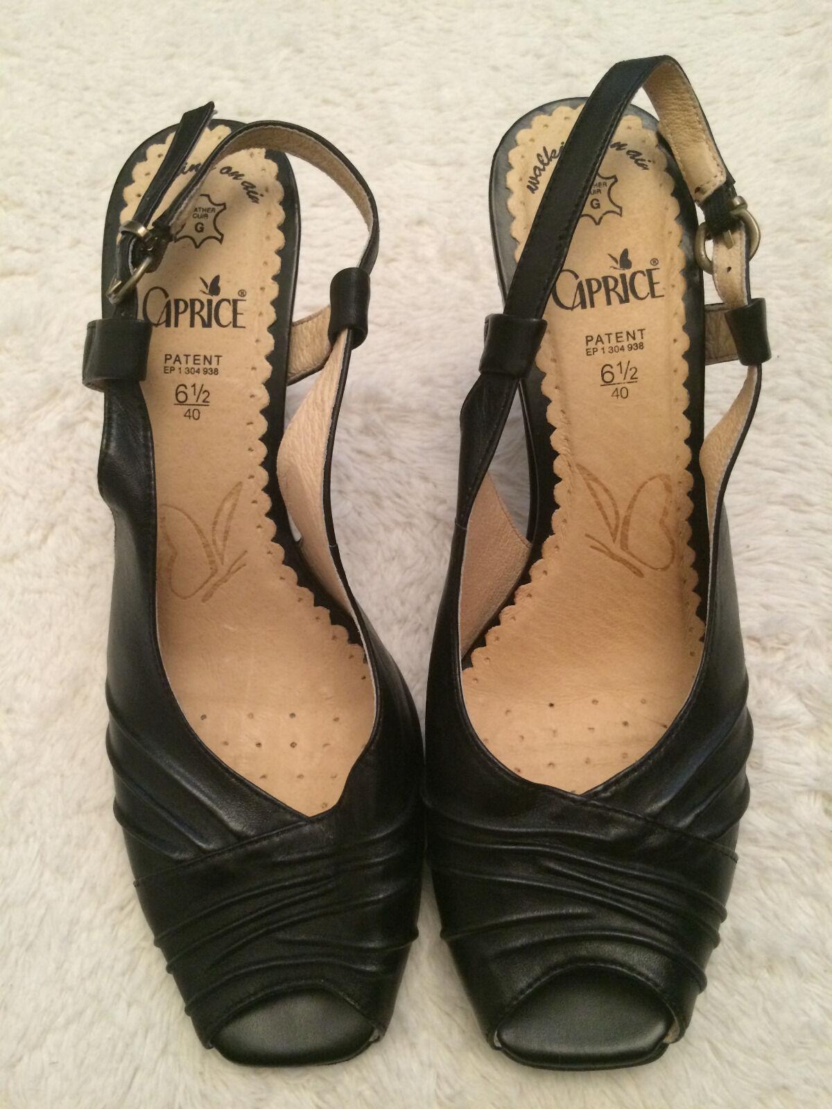 Damen Peeptoe Pumps, Sandaletten, schwarz, Gr. 40   6 ½, Caprice, NEU