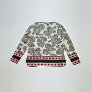 Womens Etro Milano Paisley Print Silk Blouse Top Shirt Size 42