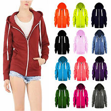 Ladies Womens Zip Up Hoody Fleece Jacket Plain Coloured Hoodie Hooded Sweatshirt