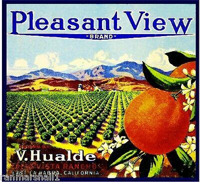 La Habra Pleasant View California Orange Citrus Fruit Crate Label Art Print