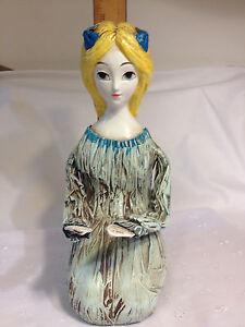 Vintage Hong Horizons Paper Mache Figurine - Woman w/yellow hair &- 1966 - Japan
