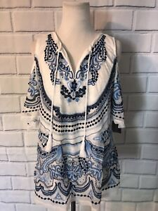 NWT-INC-International-Concepts-Cold-Shoulder-Top-Petite-Sz-S-Blue-White-Tunic