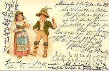 Kinder, Mädchen mit Triangel, Tanz, 1898