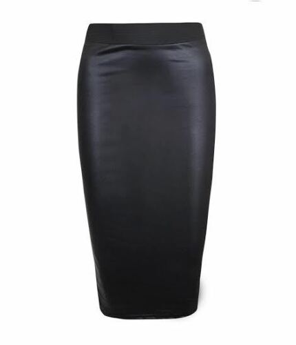 Femmes wet look faux cuir crayon moulante taille haute jupe midi UK wtmidl