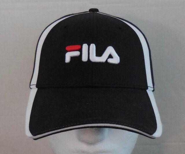 859ed6677 FILA Vintage Cap Embroidered Logo Baseball Flex Cap Fitted Black/White/Red  NEW