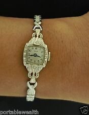 Milos Diamond Ladies Wrist Watch 14K White Gold 17 Jewel Vintage Stretch Band