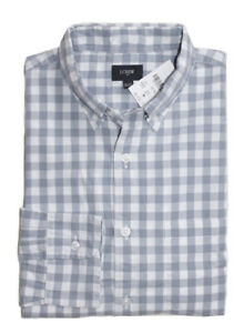 J-Crew-Factory-Mens-S-Regular-Fit-Gray-White-Gingham-Washed-Cotton-Shirt