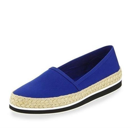 Women's PRADA GABARDINE 228356 blueette canvas espadrilles loafers sz. 40.5