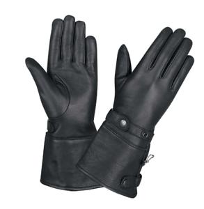 Ladies-Black-Leather-Motorcycle-Gauntlet-Gloves-1491