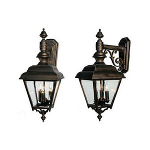 Image is loading Hanover-Lantern-Plymouth-Series-9572-BRN-Outdoor-Scrolled-  sc 1 st  eBay & Hanover Lantern Plymouth Series 9572-BRN Outdoor Scrolled Arm Wall ...