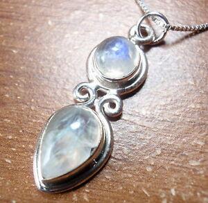 Blue-Moonstone-Double-Gem-925-Sterling-Silver-Pendant-Corona-Sun-Jewelry
