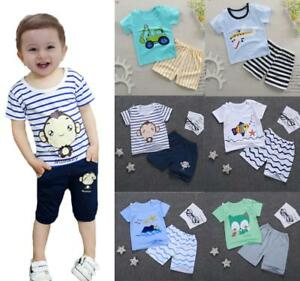 fcf607a75 2pcs baby toddler Kids infant boys summer cotton outfits T shirt+ ...