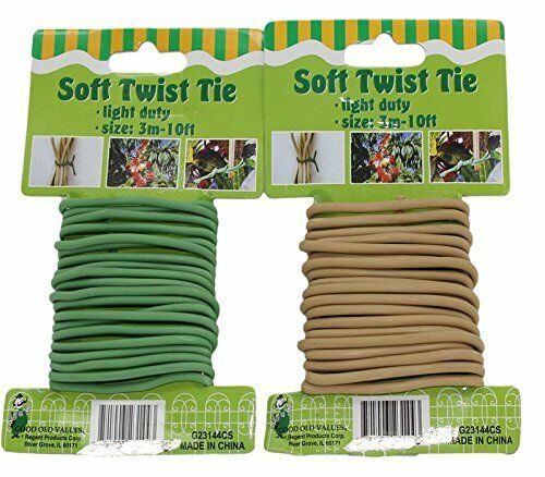 Set of 2 Soft Plant Twist Ties in Brown and Green Color