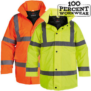 Heavy-Duty-Waterproof-High-Visibility-Padded-Parka-Coat-Jacket-Hood-Hi-Viz-Vis