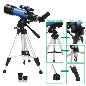70mm-Astronomical-Refractor-Telescope-Refractive-2-Eyepieces-Tripod-Beginners