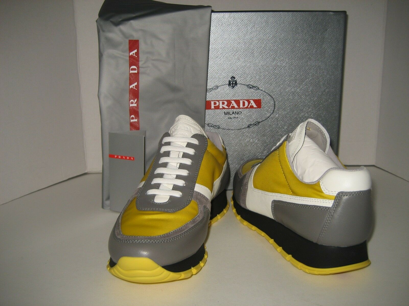 New PRADA Women US 7.5 EU 38 Sneakers Yellow Black White Leather Tennis shoes BX