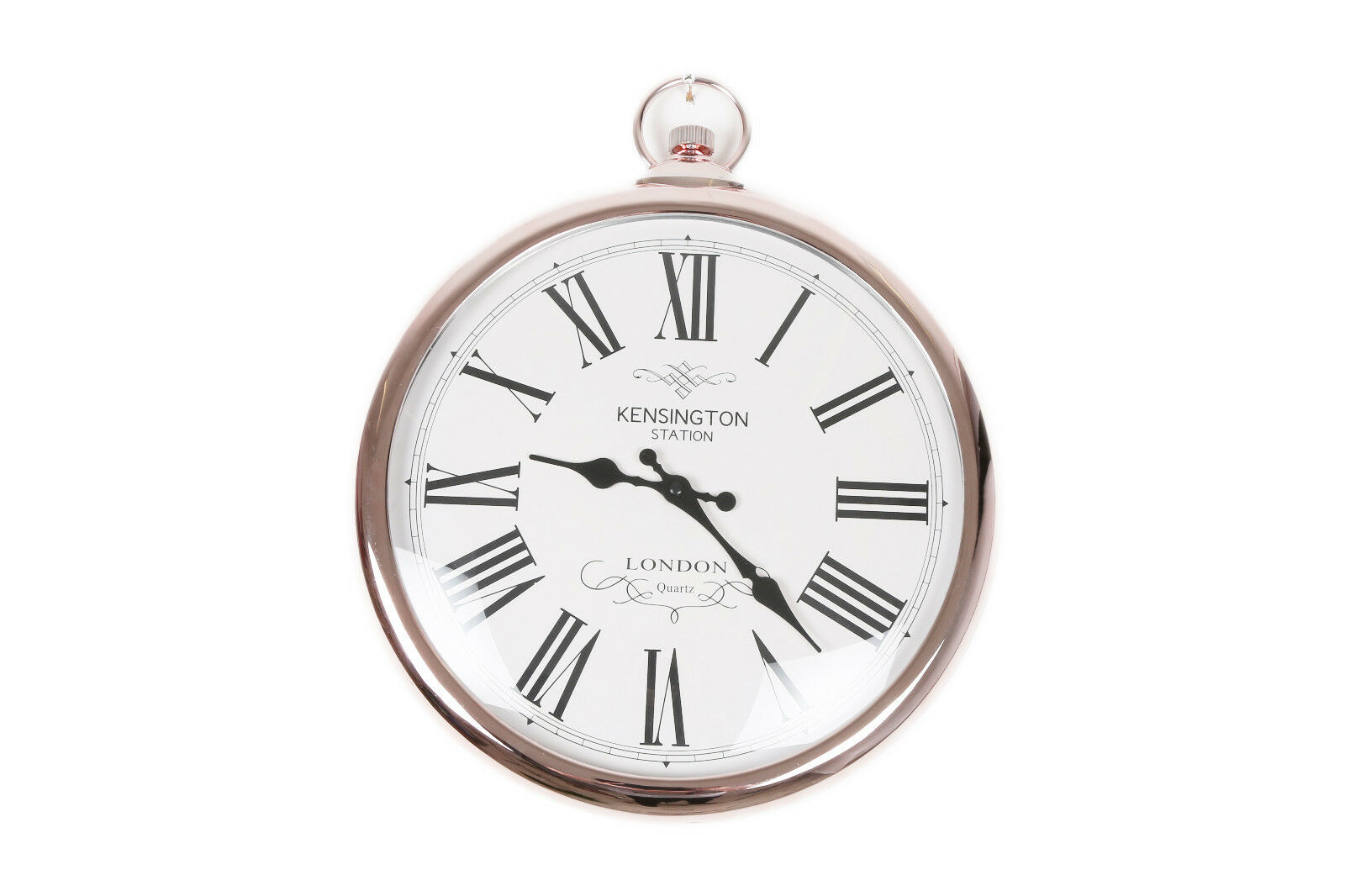 Large 42cm round copper roman numeral pocket watch kensington large pocket watch style wall clock amipublicfo Images