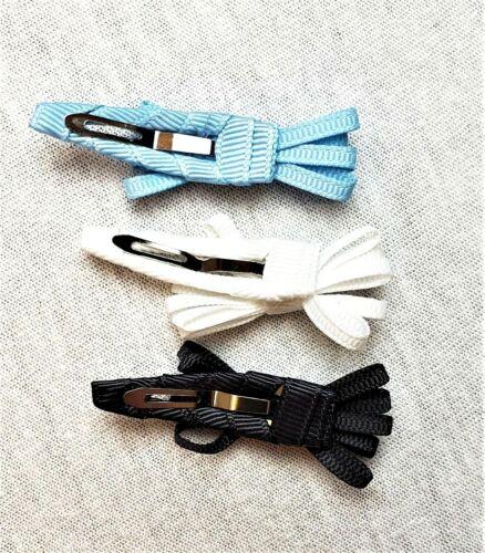 New 6Pk Cat /& Jack Mini Hair Bow Snap Clips Toddler Girls Blue White Black USA