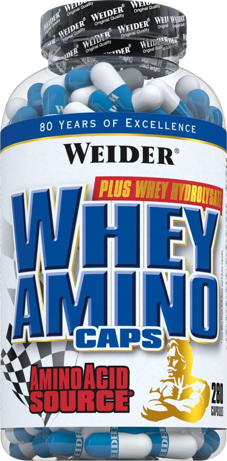 Weider Whey Amino Caps 2 Dosen + Weider Trinkflasche gratis (104,89EUR 1000g)