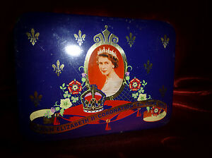 Vintage-CADBURY-QUEEN-ELIZABETH-II-Coronation-50s-CONFECTIONERY-TIN-Advertising